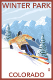 Winter Park, Colorado - Downhill Skier Poster by  Lantern Press