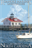 Roanoke Marshes Lighthouse - Manteo, North Carolina Posters by  Lantern Press