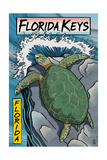 Florida Keys - Sea Turtle Woodblock Print Schilderij van  Lantern Press