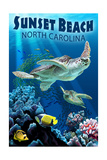 Sunset Beach - Calabash, North Carolina - Sea Turtle Swimming Schilderij van  Lantern Press