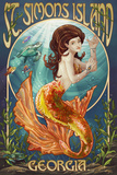 St. Simons Island, Georgia - Mermaid Prints by  Lantern Press