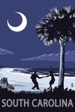 South Carolina - Palmetto Moon with Beach Dancers Poster von  Lantern Press