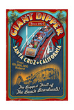Santa Cruz, California - Giant Dipper Roller Coaster Vintage Sign Posters by  Lantern Press