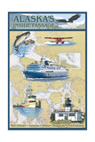 Inside Passage, Alaska - Nautical Chart Print by  Lantern Press
