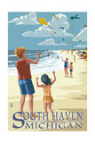 South Haven, Michigan - Kite Flyers Prints by  Lantern Press