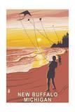 New Buffalo, Michigan - Beach and Kites Poster by  Lantern Press
