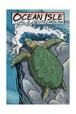 Ocean Isle, South Carolina - Sea Turtles Woodblock Print Posters by  Lantern Press