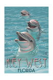 Key West, Florida - Dolphin Trio Poster by  Lantern Press