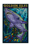 Golden Isles, Georgia - Shark Paper Mosaic Posters by  Lantern Press