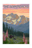 The Adirondacks - Bear and Spring Flowers Art by  Lantern Press
