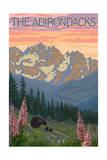 The Adirondacks - Bear and Spring Flowers Art
