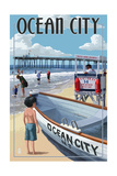 Ocean City, New Jersey - Lifeguard Stand Prints by  Lantern Press