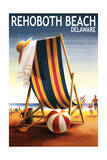 Rehoboth Beach, Delaware - Beach Chair and Ball Prints by  Lantern Press