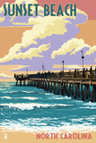 Sunset Beach - Calabash, North Carolina - Pier Scene Posters by  Lantern Press