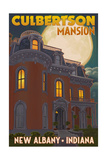 New Albany, Indiana - Culbertson Mansion and Moon Print by  Lantern Press