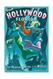 Hollywood, Florida - Live Mermaids Print by  Lantern Press