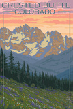 Crested Butte, Colorado - Bear and Spring Flowers Prints by  Lantern Press