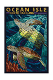 Ocean Isle - Calabash, North Carolina - Sea Turtle Paper Mosaic Poster van  Lantern Press