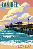 Sanibel, Florida - Pier and Sunset Prints by  Lantern Press