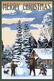 Merry Christman - Snowman Scene Art by  Lantern Press