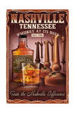 Nashville, Tennessee - Whiskey Vintage Sign Prints by  Lantern Press