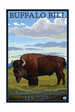 Lookout Mountain, Colorado - Bison Solo Art by  Lantern Press