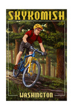 Skykomish, Washington - Mountain Biker in Trees Prints