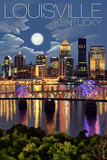 Louisville, Kentucky - Skyline at Night Poster by  Lantern Press