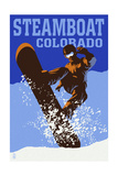 Steamboat, Colorado - Colorblocked Snowboarder Posters