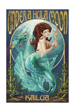 Kailua, Hawaii - under a Hula Moon - Mermaid Prints