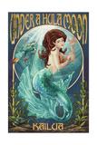 Kailua, Hawaii - under a Hula Moon - Mermaid Prints by  Lantern Press
