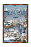 Newport, Rhode Island - Winter Montage Scenes Prints by  Lantern Press