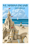 St. Simons Island, Georgia - Sand Castle Print by  Lantern Press