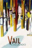 Vail, CO - Colorful Skis Reprodukcje autor Lantern Press