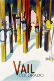 Vail, CO - Colorful Skis Prints by  Lantern Press