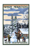 White Mountains, New Hampshire - Snowman and Cabin Print by  Lantern Press