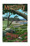 Monterey Peninsula, California - 17 Mile Drive Art by  Lantern Press