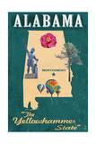 Alabama - State Icons Poster von  Lantern Press