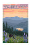Idaho - Bear and Spring Flowers Prints by  Lantern Press