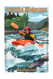 Cascade Mountains, Washington - Kayak Scene Art by  Lantern Press