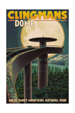 Clingmans Dome and Moon - Great Smoky Mountains National Park, TN Print by  Lantern Press