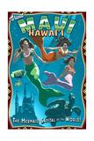 Mermaid Vintage Sign - Maui, Hawaii Posters