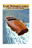 Lake Winnipesaukee, New Hampshire - Chris Craft Boat Print by  Lantern Press