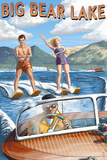 Big Bear Lake, California - Waterskiers Prints by  Lantern Press