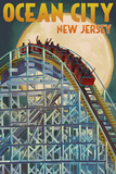 Ocean City, New Jersey - Roller Coaster and Moon Posters by  Lantern Press
