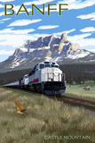 Banff, Canada - Castle Mountain Train Scene Posters by  Lantern Press