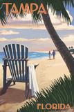 Tampa, Florida - Adirondack Chair on the Beach Posters by  Lantern Press