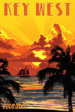 Key West, Florida - Sunset and Ship Posters by  Lantern Press