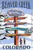 Lantern Press - Beaver Creek, Colorado - Ski Signpost Umělecké plakáty