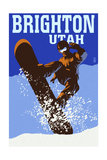 Brighton Resort, Utah - Colorblocked Snowboarder Prints by  Lantern Press
